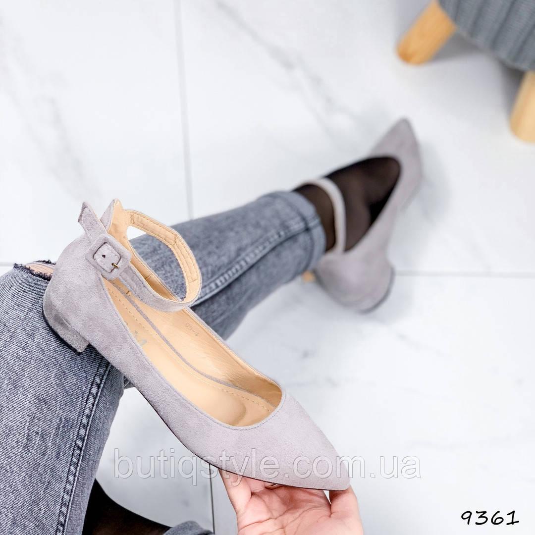 Женские серые туфли экозамш на маленьком каблуке