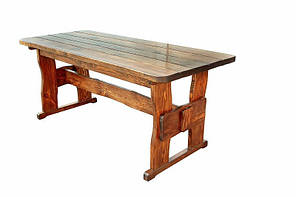 Деревянный стол 2200х800 мм из массива сосны ручной работы для кафе, дачи от производителя. Wood Table 14