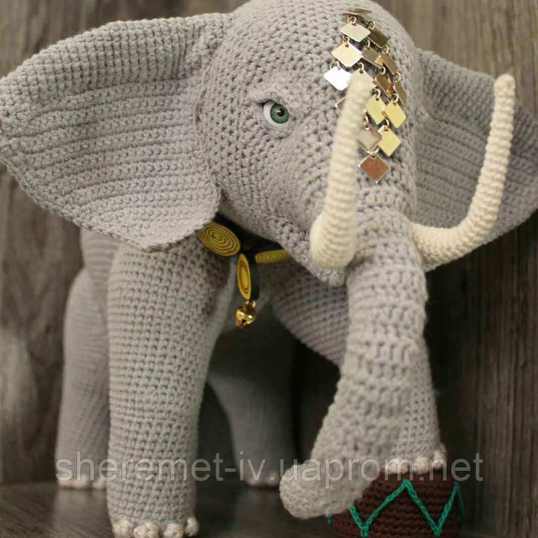 Интерьерная мягкая  вязаная игрушка на каркасе Слон
