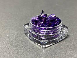 Жатая фольга для ногтей в баночке фиолетовая
