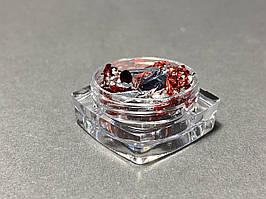 Жатая фольга для ногтей в баночке серебро/красная