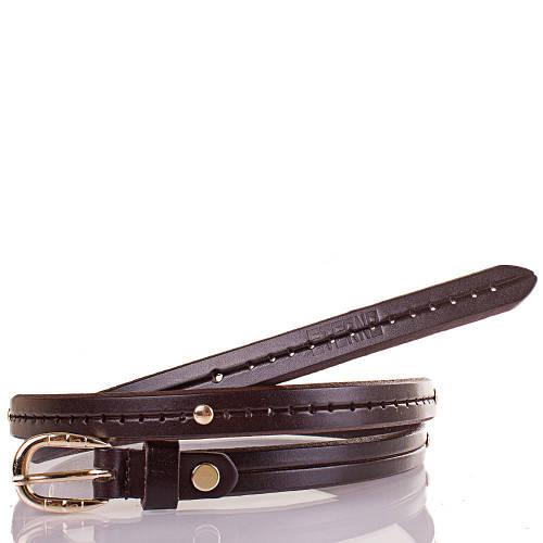 Женский узкий кожаный ремень ETERNO (ЭТЕРНО) ETS5072-10 темно-коричневый