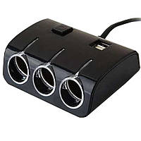 Тройник в прикуриватель автомобиля 12V разветвитель автомобильный с USB (ART 5035) с доставкой , Автомобильные аксессуары