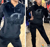 Костюм женский спортивный, прогулочный, велюровый, стильный, модный, повседневный, с капюшоном, норма и батал, фото 1