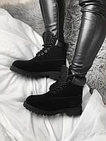 Женские ботинки зимние Тимберленды черные Timberland Black