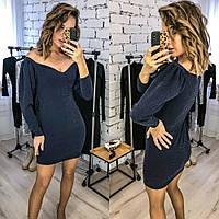 Платье женское, нарядное, футляр, вечернее, люрекс, с пышным рукавом, короткое, повседневное, модное, до 48 р, фото 1