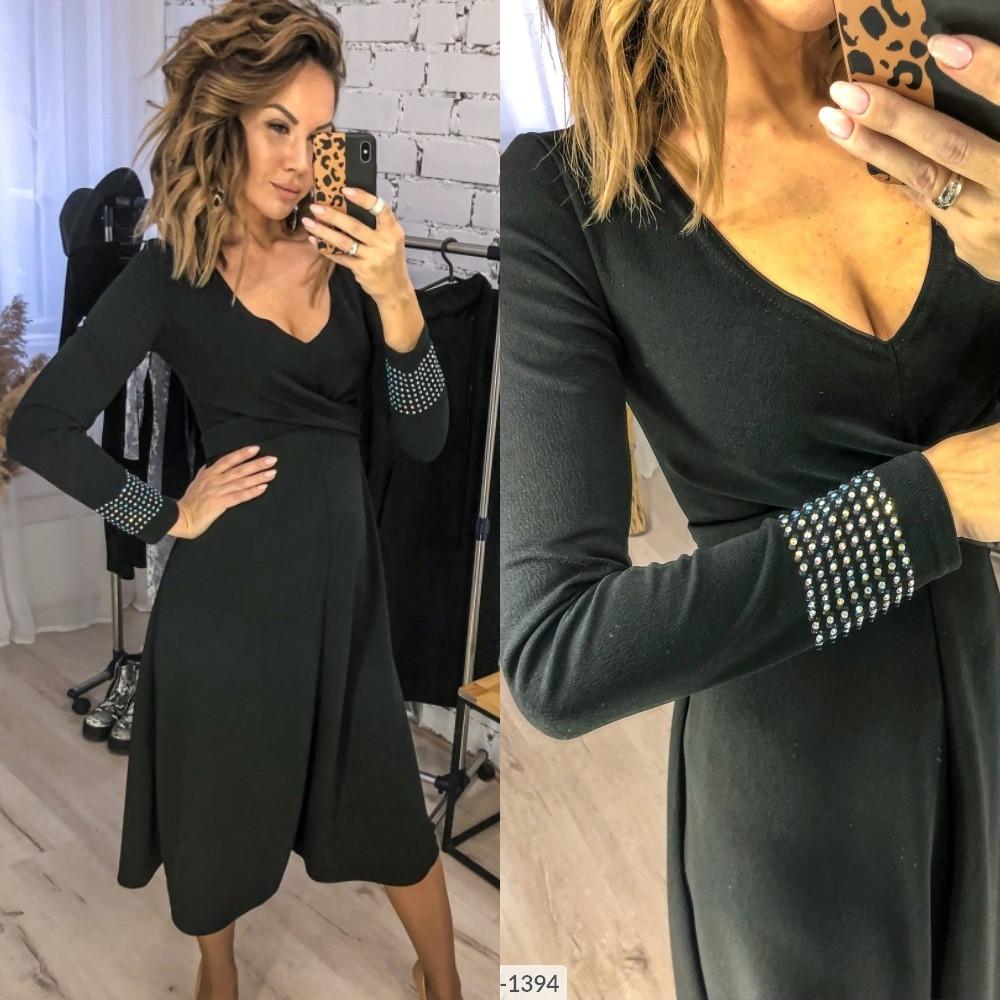 Платье женское повседневное, стильное, дл.миди, нарядное,расклешенное,  до 48 р, черное, с декольте и стразами