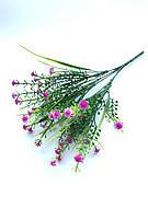 Искусственный пластиковый куст с мелкими цветочками( сиреневый 28 см)
