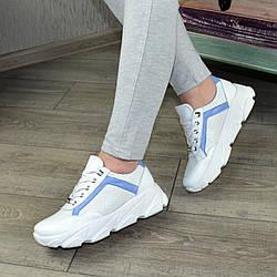 Кроссовки женские кожаные на шнуровке, цвет белый/голубой