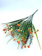 Искусственный пластиковый куст с мелкими цветочками ( оранжевый 28 см)