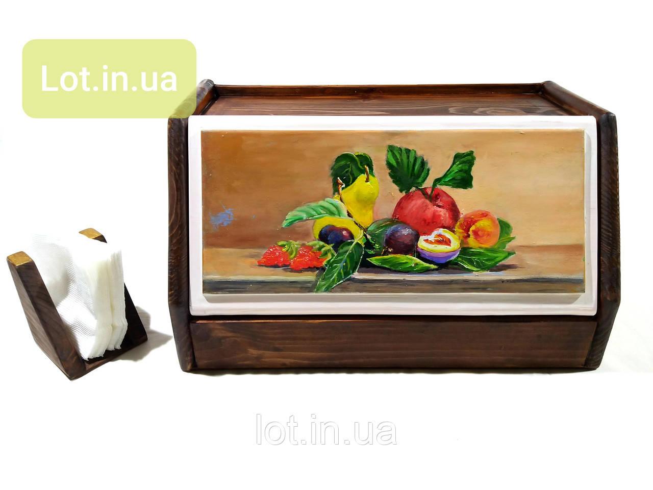 Хлебница деревянная #03, роспись.