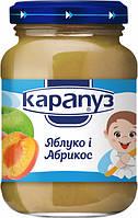 Пюре детское фруктовое яблоко абрикос 4м+ 200г Карапуз 1060004