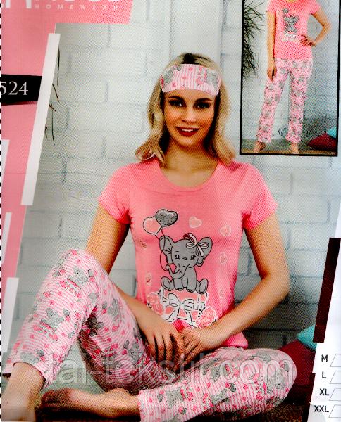 Пижама женская футболка+брюки cotton C&M - Турция М-2XL + маска для сна
