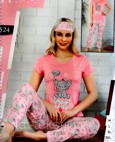 Пижама женская футболка+брюки cotton C&M - Турция М-2XL + маска для сна, фото 2
