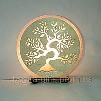Соляна лампа кругла Дерево, нічник, подарунок