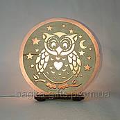 Соляна лампа кругла Сова