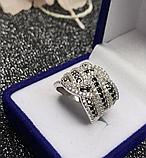 Серебряное кольцо с черными цирконами Эми, фото 2