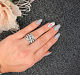 Серебряное кольцо с черными цирконами Эми, фото 6
