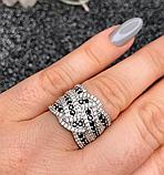 Серебряное кольцо с черными цирконами Эми, фото 7