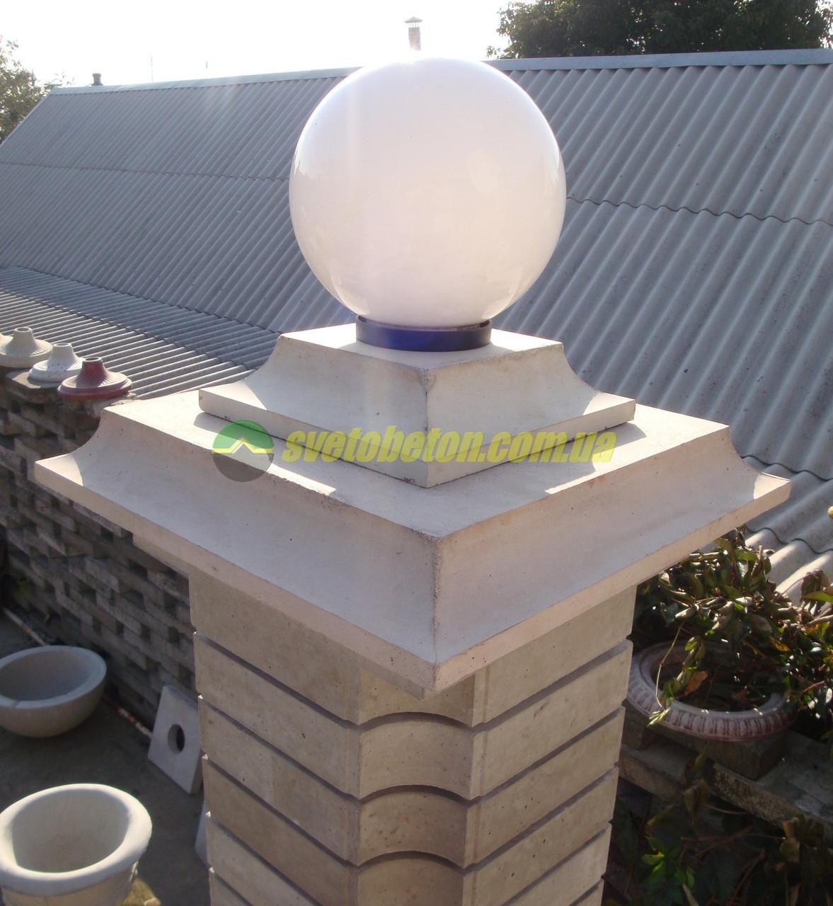 Крышка колпак на столб забора бетонная большая, шляпка 530х530, накрытие парапета колонны из бетона.