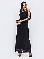 Вечернее платье длинное макси черное с гипюром  50-52 54-56 58-60 +