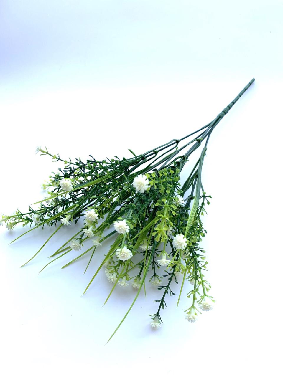 Искусственный пластиковый куст мелкими белыми цветочками ( 28 см)