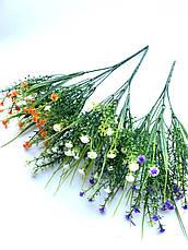 Искусственный пластиковый куст мелкими белыми цветочками ( 28 см), фото 3