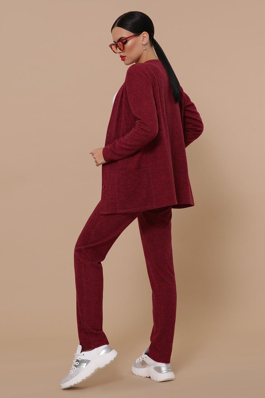 Трикотажный брючный костюм кардиган и  брюки GL-Трейси Марсала, фото 2