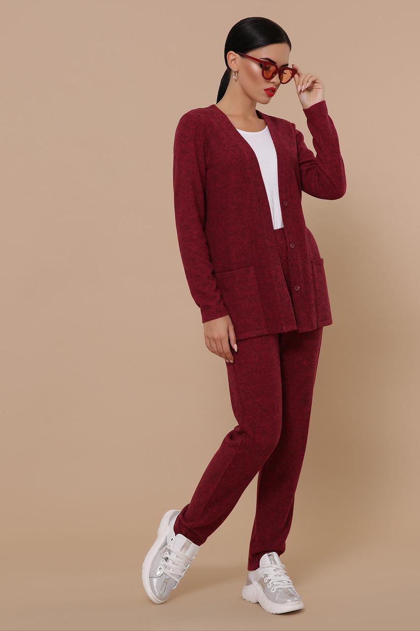 Трикотажный брючный костюм кардиган и  брюки GL-Трейси Марсала, фото 3