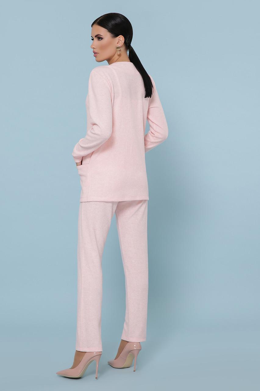 Трикотажный брючный костюм кардиган и  брюки GL-Трейси Розовый, фото 2