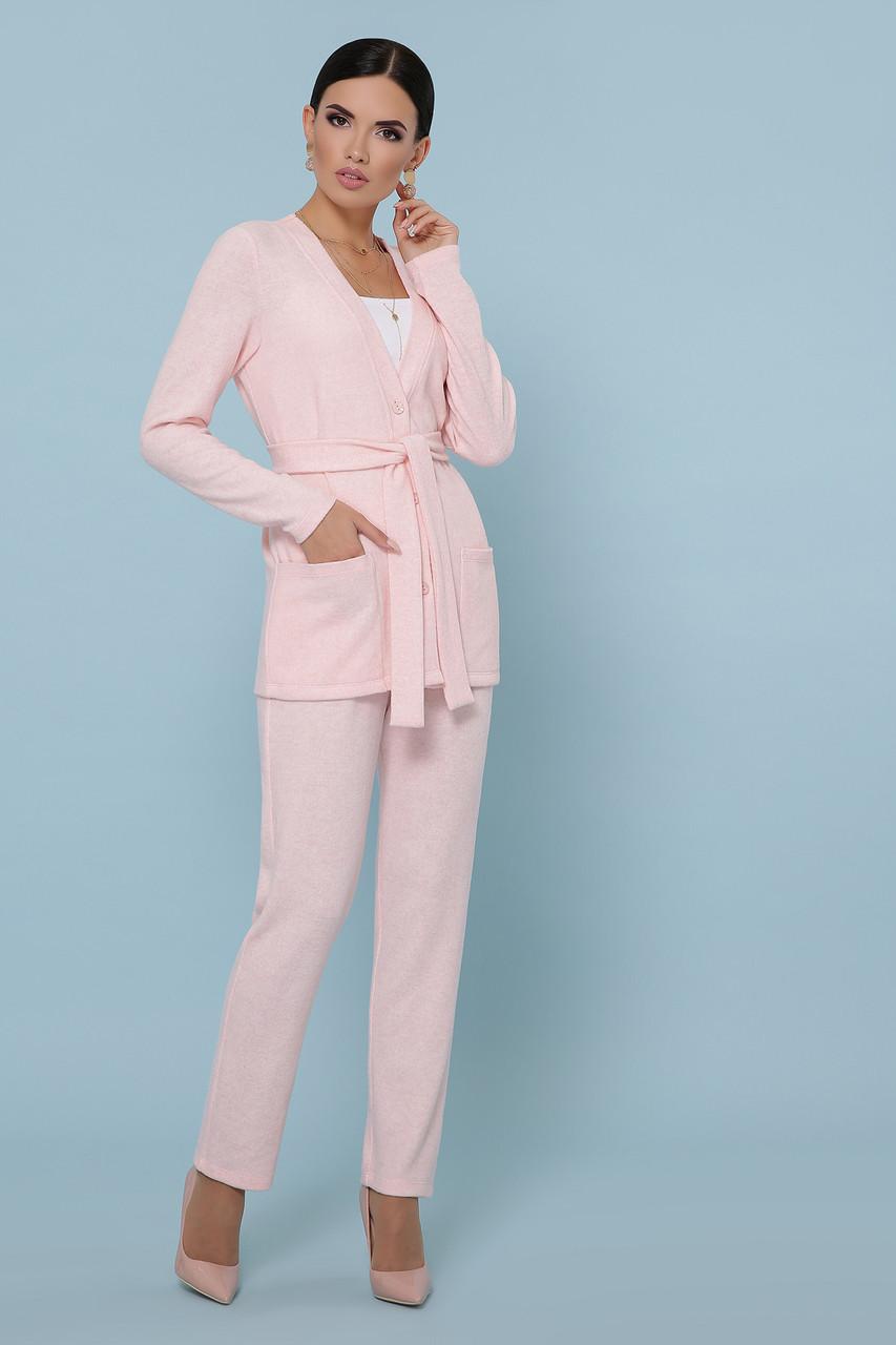 Трикотажный брючный костюм кардиган и  брюки GL-Трейси Розовый, фото 3