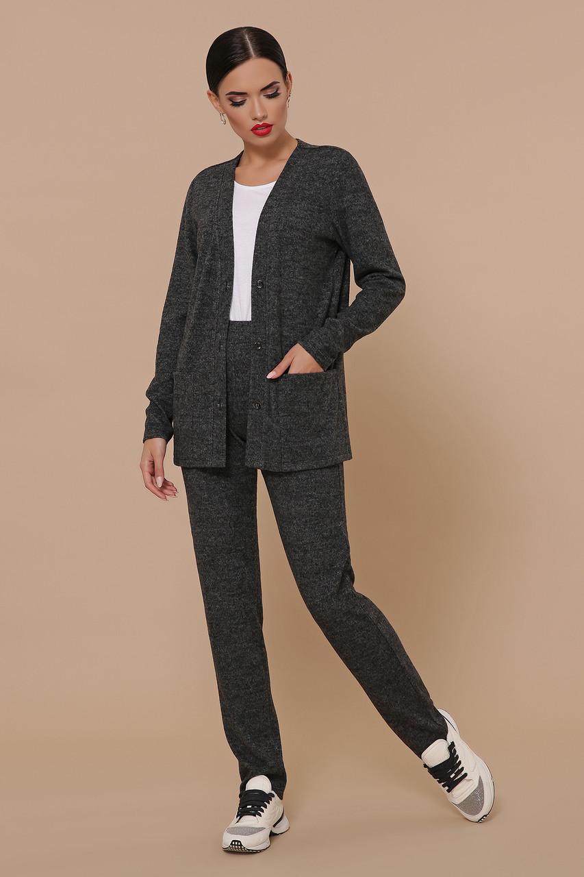 Трикотажный брючный костюм кардиган и  брюки GL-Трейси Черный, фото 3