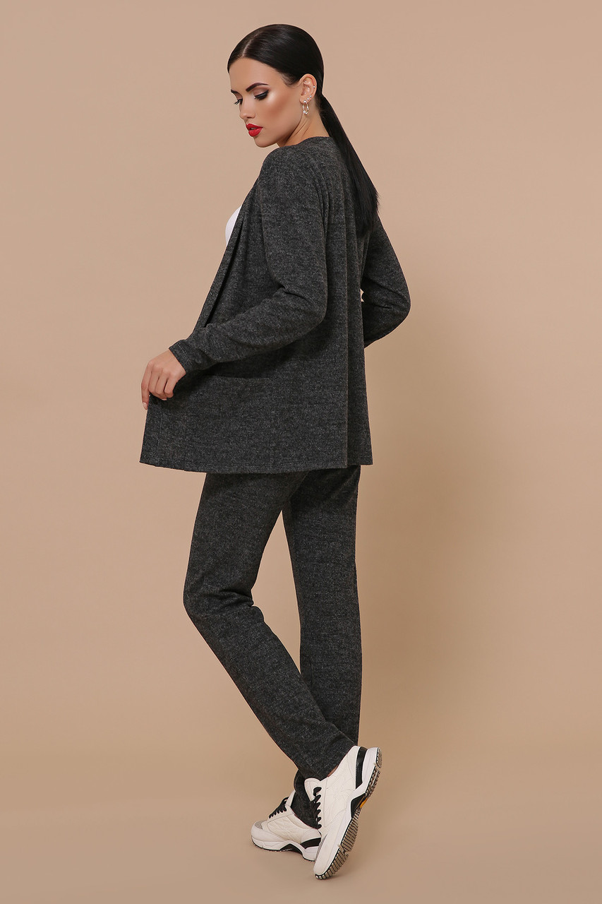 Трикотажный брючный костюм кардиган и  брюки GL-Трейси Черный, фото 2