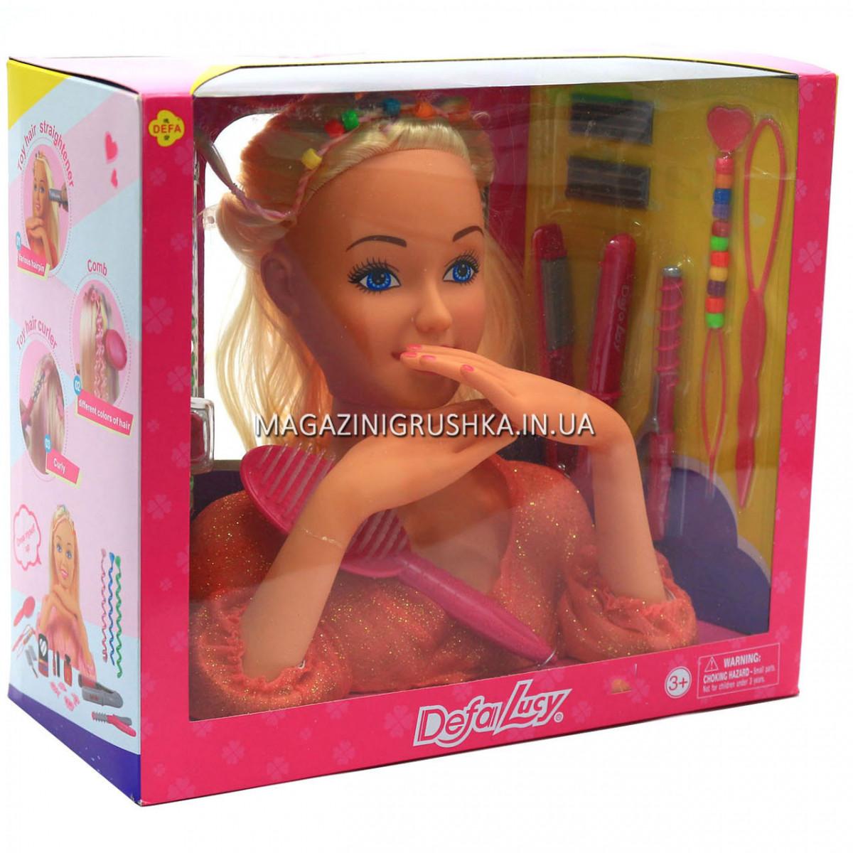 Кукла для причесок «Defa Lucy» (голова куклы), косметика, аксессуары 23 см (8415)
