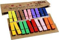Декоративные прищепки разноцветные № 2  для украшения фотографий, открыток, изделий Hand-made  20 штук