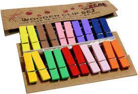 Мини прищепки для декора разноцветные № 2  20 штук
