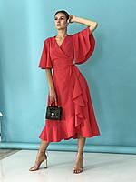 Платье женское красное летнее миди с воланами на запах