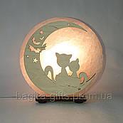 Соляна лампа кругла Коти на місяці
