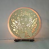 Соляная лампа круглая Ангел. Оригинальный подарок сыну, дочке, ребенку, новорожденному на крестины на рождение