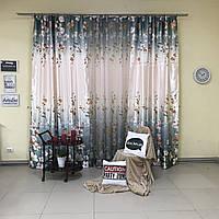 Комплект плотных штор из атласа 2 шт с цветочным принтом с тюлью из батиста (для спальни, гостиной)