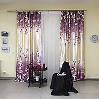 Комплект плотных штор из атласа с фиолетовым цветочным принтом (для спальни, гостиной)