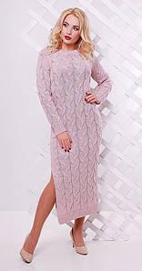Платье длинное с разрезом нежно розовое