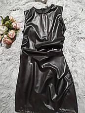 Сексуальное качественное платье женское эко кожа черное. Короткое платье эко кожа., фото 2