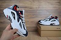 Мужские кроссовки в стиле Reebok DMX белые с синим и красным, фото 1