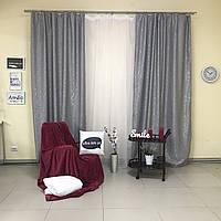 Готовые плотные шторы Блэкаут лен серого цвета, с ветвистым рисунком и глянц. нитками (для спальни, гостиной)