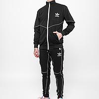 Спортивный костюм мужской Adidas черный с рефлективными вставками