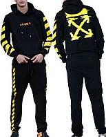Трикотажный костюм Off-White (Premium-class) черный с желтым