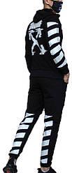Трикотажный спортивный костюм Off-White (Premium-class) черный с белым