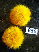 Меховой помпон Кролик, Горчица, 8/9 см, пара 836