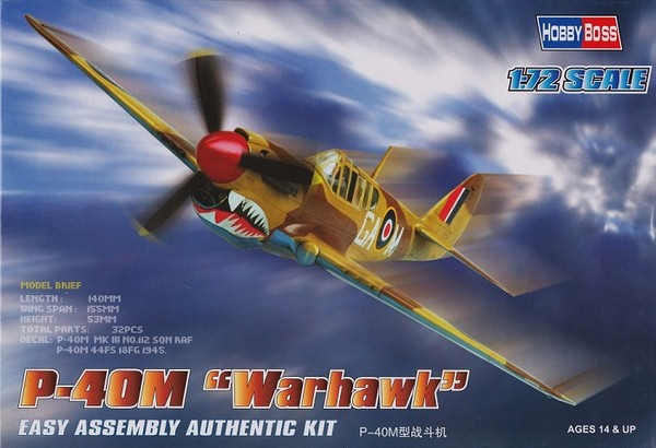 P40-M Warhawk. Сборная модель самолета в масштабе 1/72. HOBBY BOSS 80251
